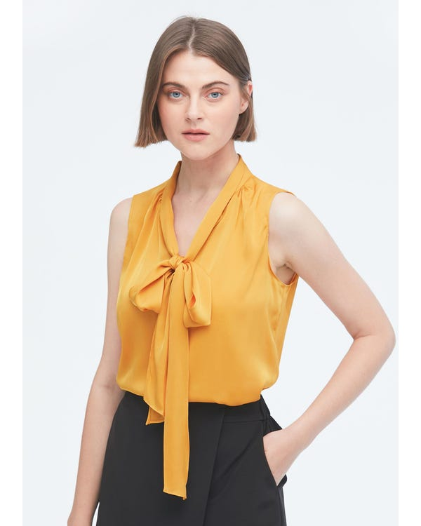 Feminine Sleeveless Silk Tie Neck Blouse-hover