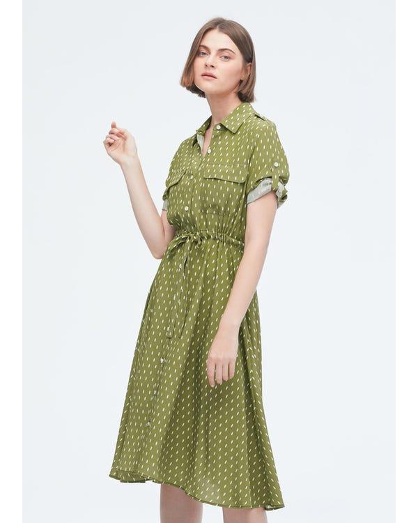Polka dot midi shirt dress-hover