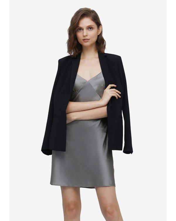 Elegant Summer Silk Slip Dress Dark Gray XXL