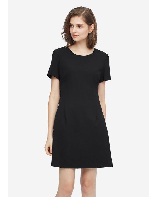 Elegantes Wollkleid mit hoher Taille Black S