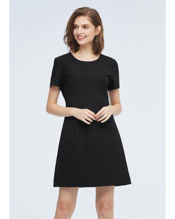 Elegantes Wollkleid mit hoher Taille Black L-hover
