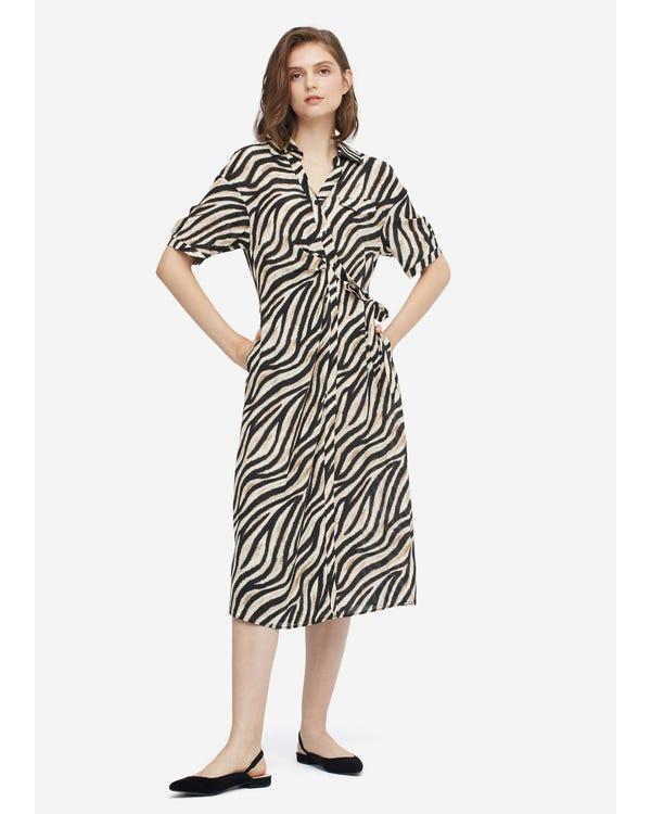 Frauen Seide Sommerkleid mit Druck Zebra-Print-W21 L