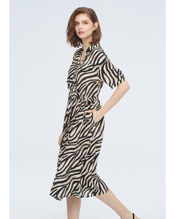 Frauen Seide Sommerkleid mit Druck Zebra-Print-W21 L-hover