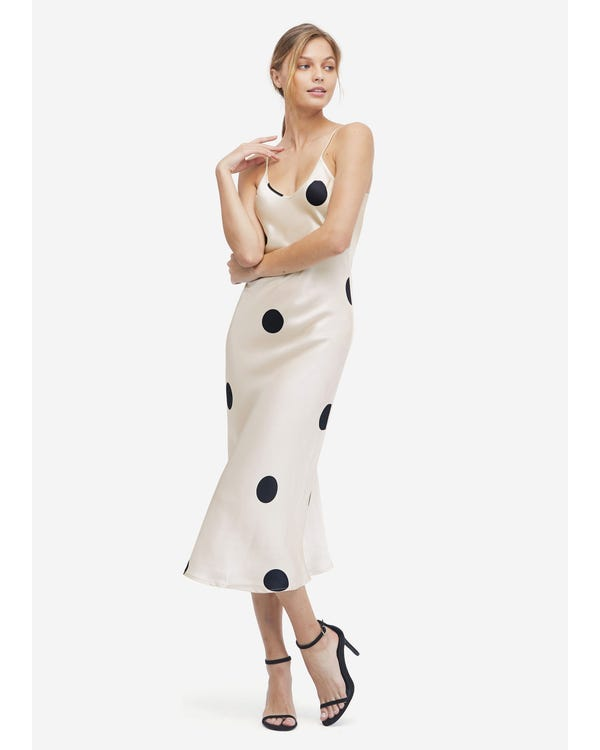 Robe en Soie à Pois de Polka Black-Dots-In-White-w14 L
