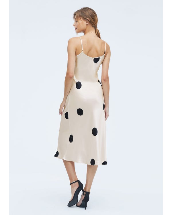Bio Polka Dot Seidenkleid Black-Dots-In-White-w14 L-hover