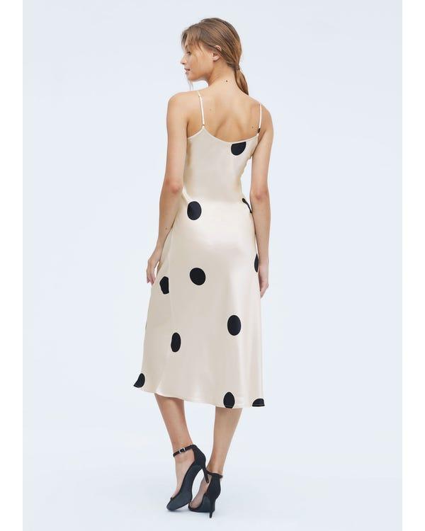 Robe en Soie à Pois de Polka Black-Dots-In-White-w14 L-hover
