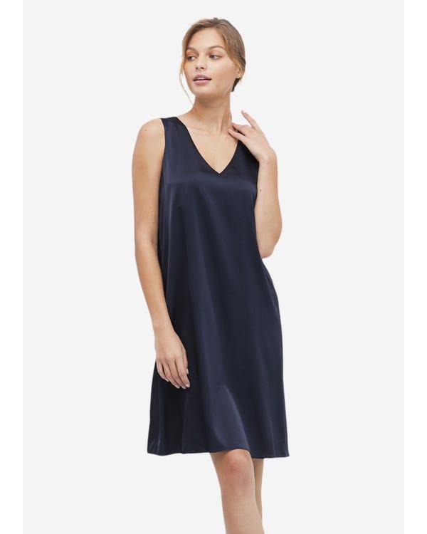 Frauen lässig Seide Cami Kleid Navy Blue L