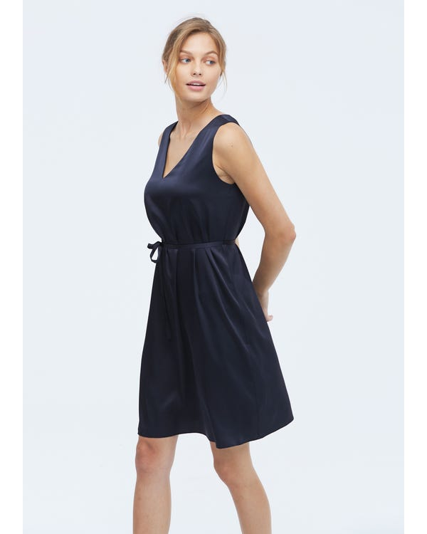 Frauen lässig Seide Cami Kleid Navy Blue L-hover