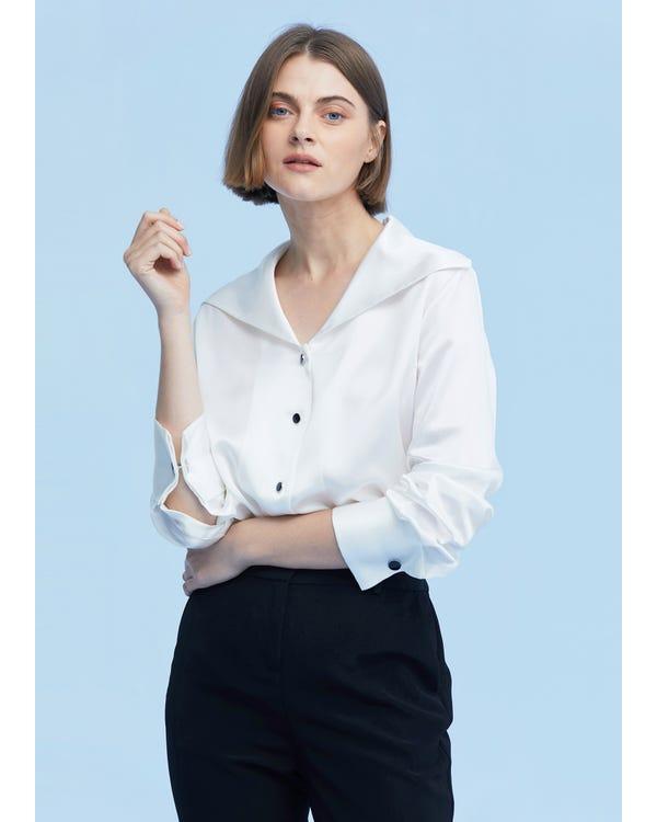 Women Cufflinks Long Sleeve Shirt-hover