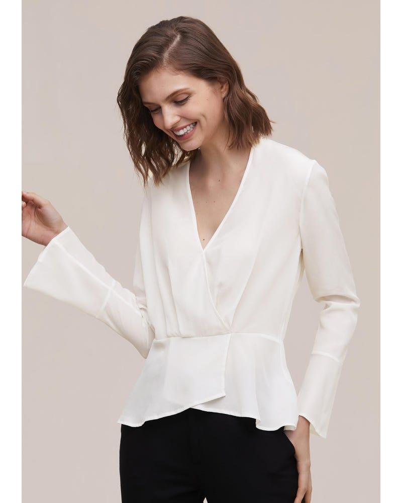 Women Flare Sleeve Silk Blouse