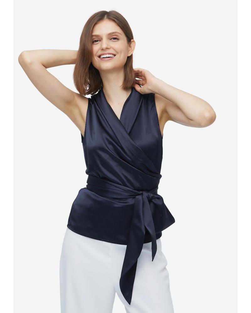 Women Elegant Silk Wrap Blouse