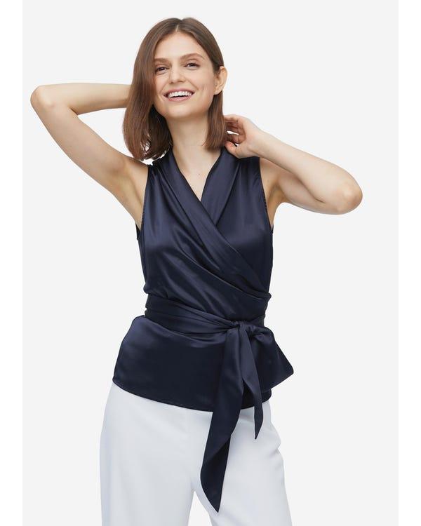 Women Elegant Silk Wrap Blouse Navy Blue XXL