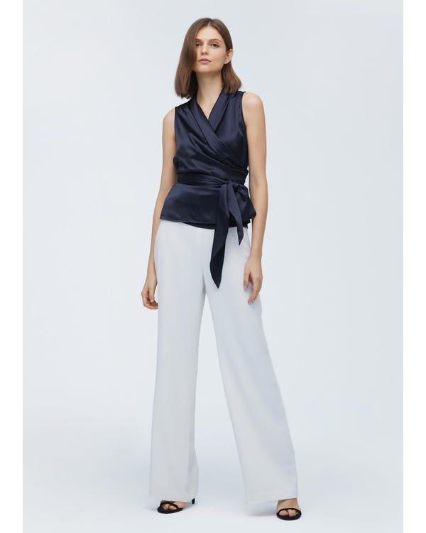 Women Elegant Silk Wrap Blouse Navy Blue XXL-hover