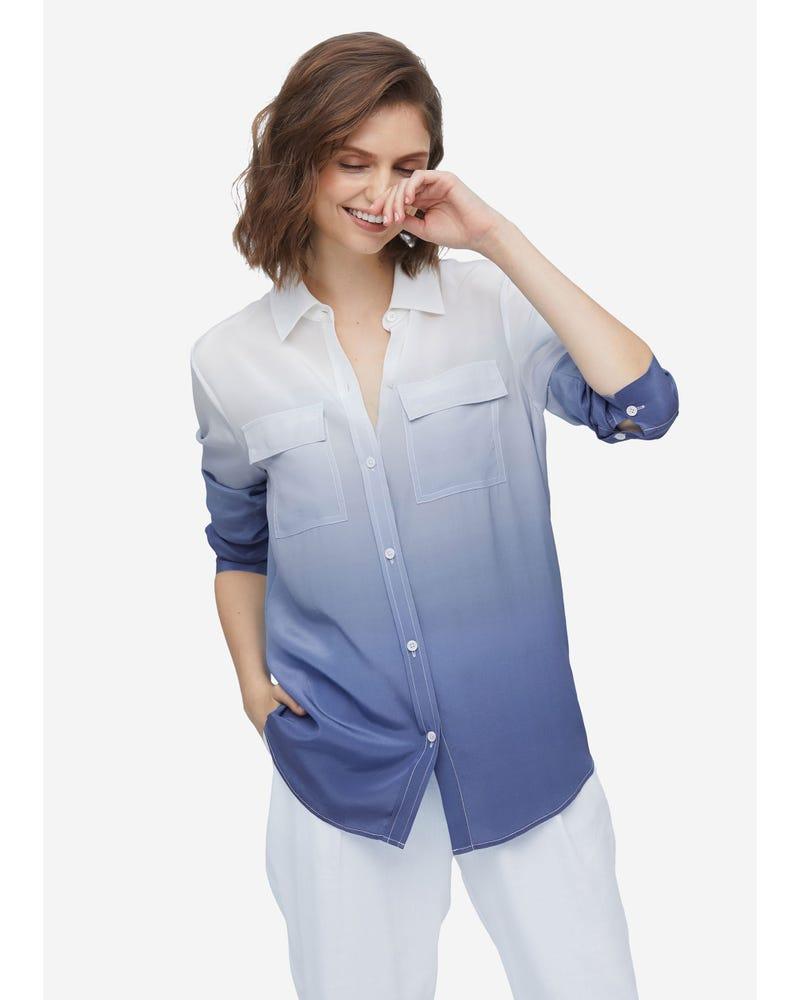 Classic Button-front Gradient Silk Shirt