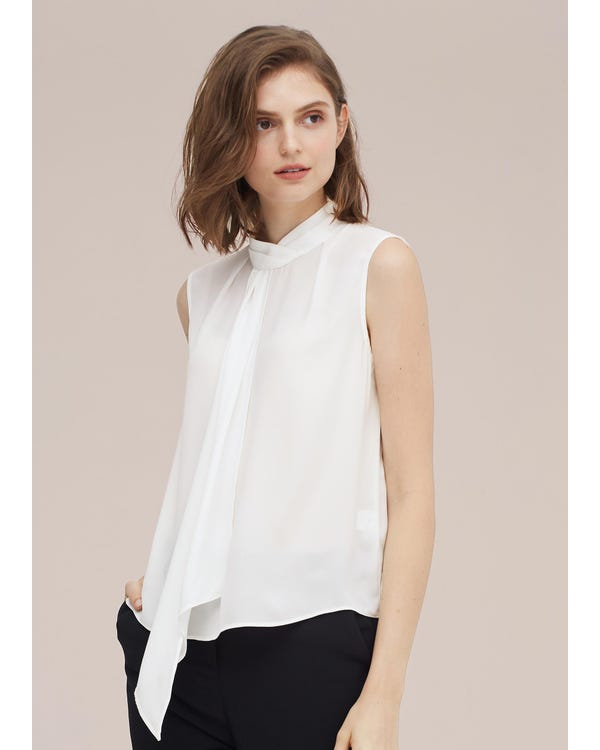 Elegant Sleeveless Silk Blouse With Ribbon