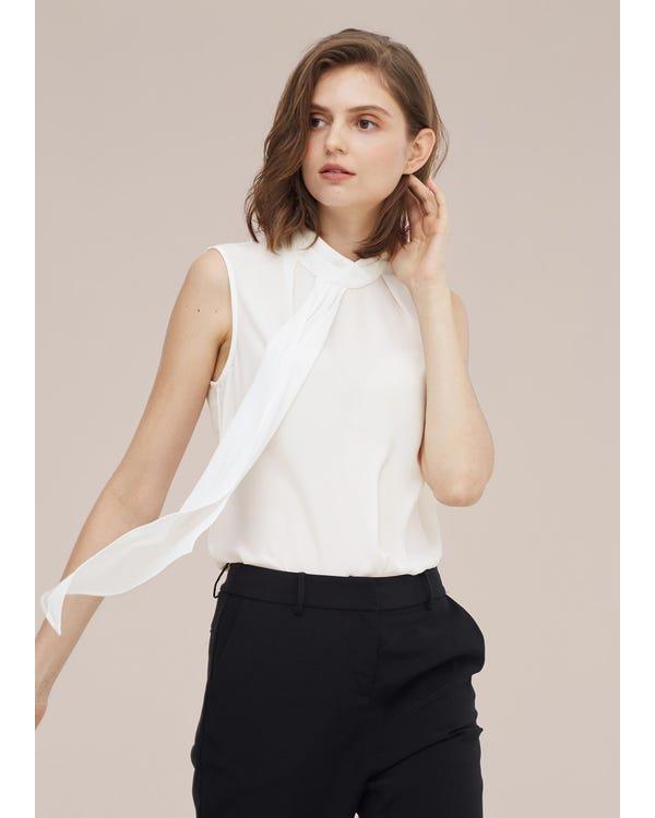 Elegant Sleeveless Silk Blouse With Ribbon-hover