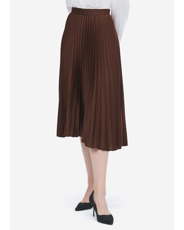 Exquisite Pleated Silk Skirt Dark-Coffee L