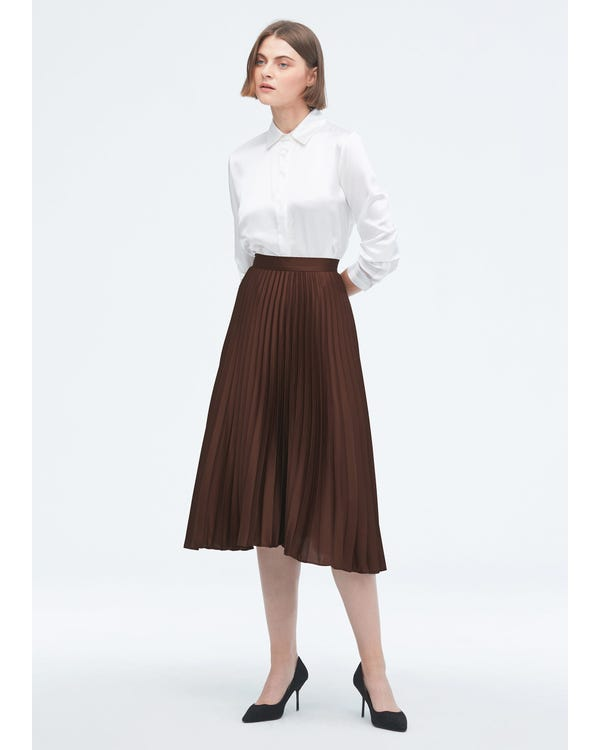 Exquisite Pleated Silk Skirt Dark-Coffee S-hover