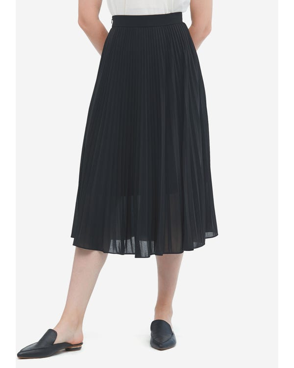 Solid Color Silk Pleated Skirt Black S
