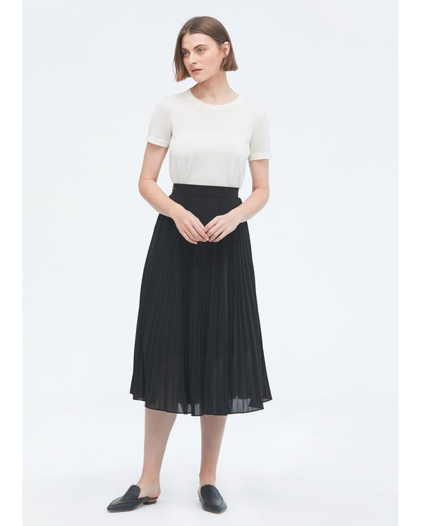 Solid Color Silk Pleated Skirt Black S-hover