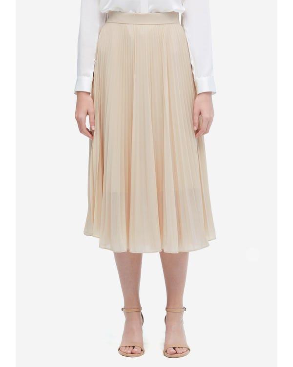 Ensfarvet Silke Plisseret Nederdel