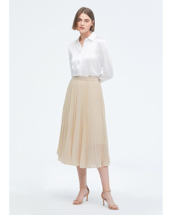 Solid Color Silk Pleated Skirt-hover