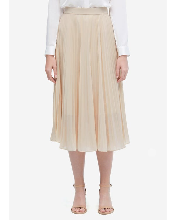 Solid Color Silk Pleated Skirt Shifting Sand XL