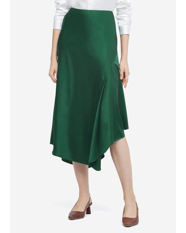 Silk Split Skirt With Asymmetric Hem Green Jade L