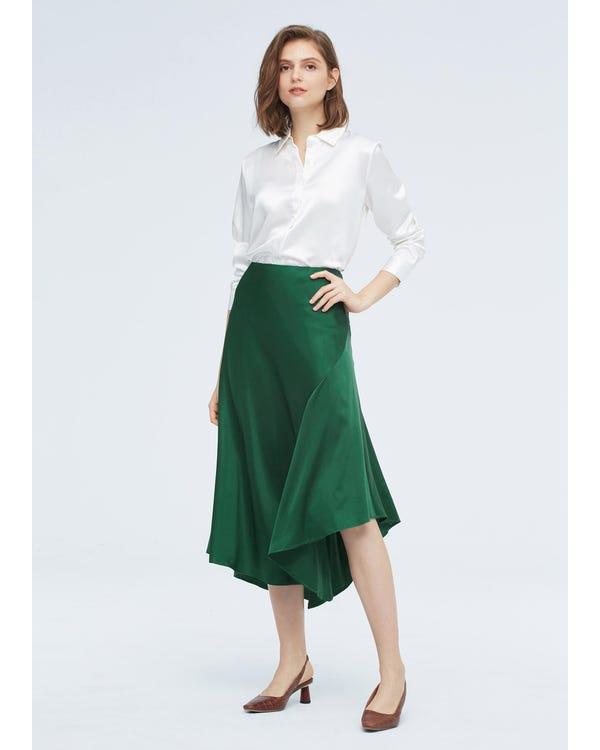 Silk Split Skirt With Asymmetric Hem Green Jade L-hover