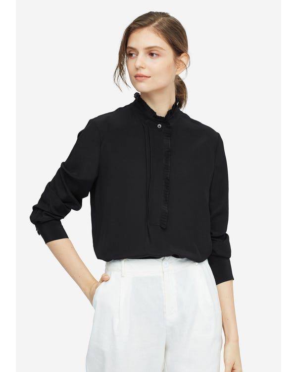 Romantic Stand Collar Silk Shirt Black XXL