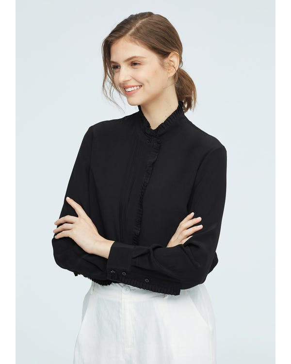 Romantic Stand Collar Silk Shirt Black XXL-hover
