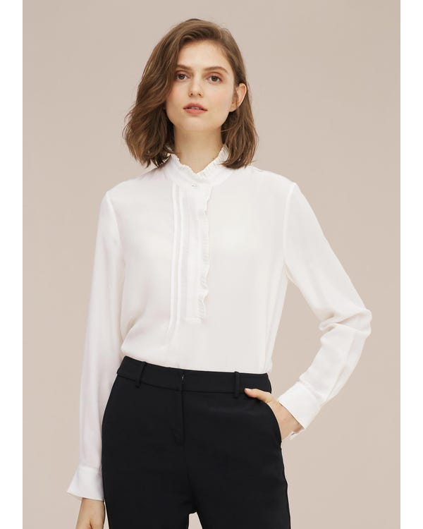 Romantic Stand Collar Silk Shirt