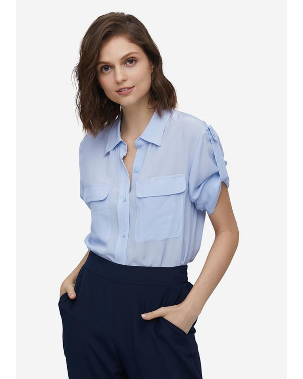 Silk Shirt With Signature Flap Pockets