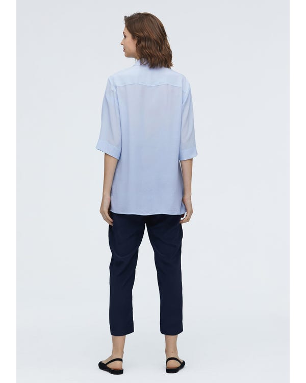 Silk Shirt With Signature Flap Pockets-hover