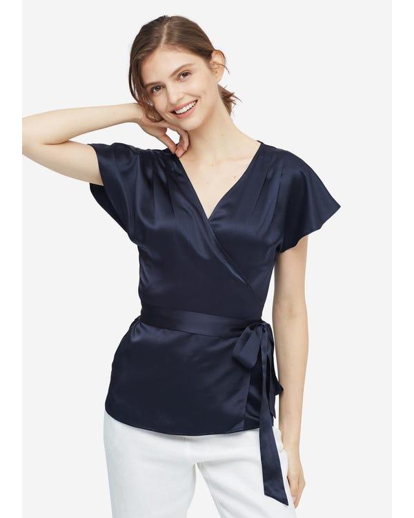 Elegant Feminine Simple Silk Blouse Navy Blue XXL