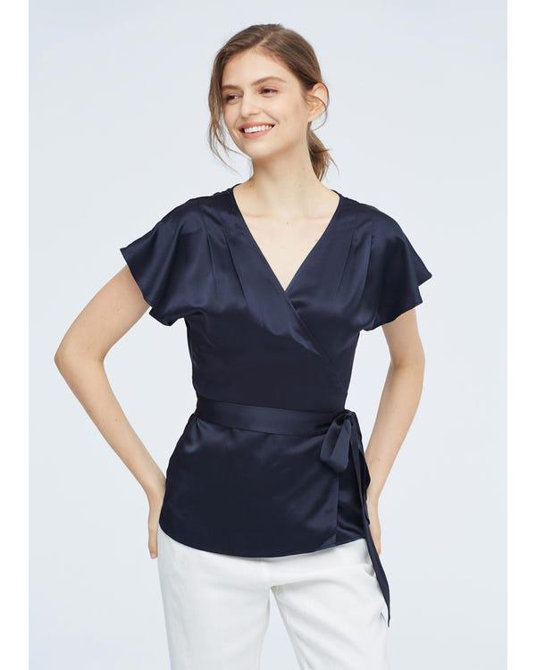 Elegant Feminine Simple Silk Blouse Navy Blue XXL-hover