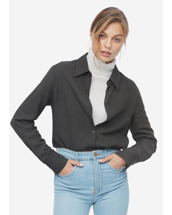 Damen klassisches Hemd aus Wolle und Seide gray-w01 L