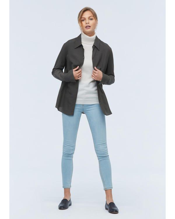 Damen klassisches Hemd aus Wolle und Seide gray-w01 S-hover