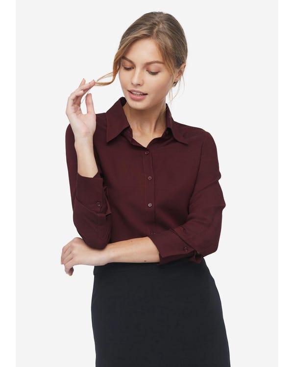 Damen klassisches Hemd aus Wolle und Seide red-w02 M