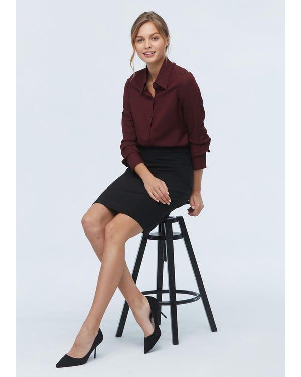 Damen klassisches Hemd aus Wolle und Seide red-w02 M-hover