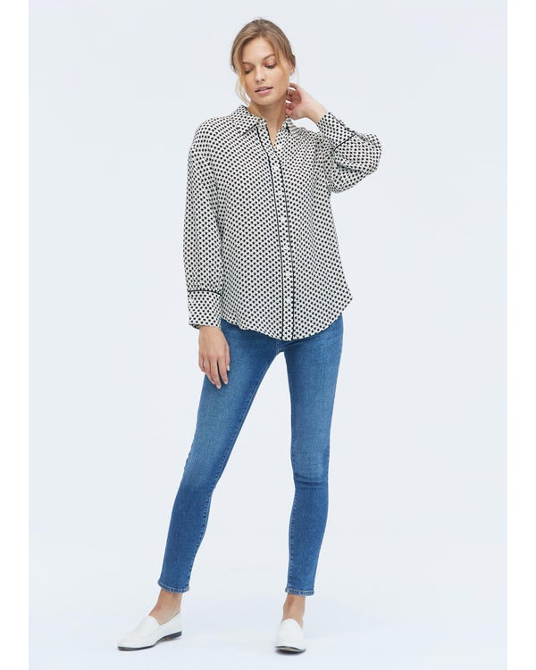 Long Sleeve Silk Print Shirt-hover