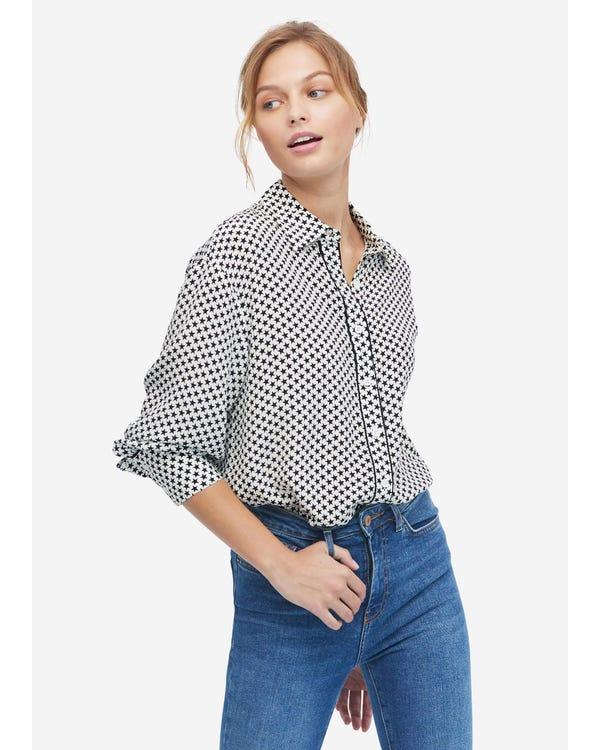Langarm Seidenhemd mit Druck Stars-In-White-W20 S