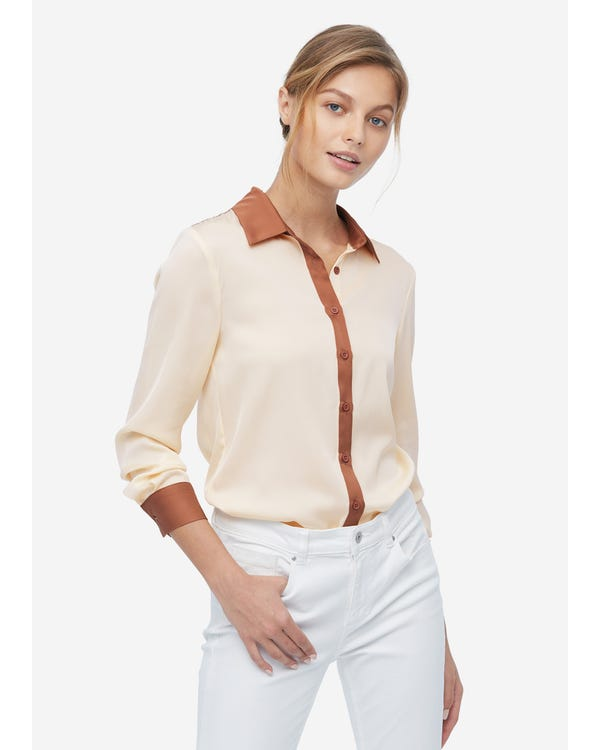 Women Casual Color Block Silk Shirt