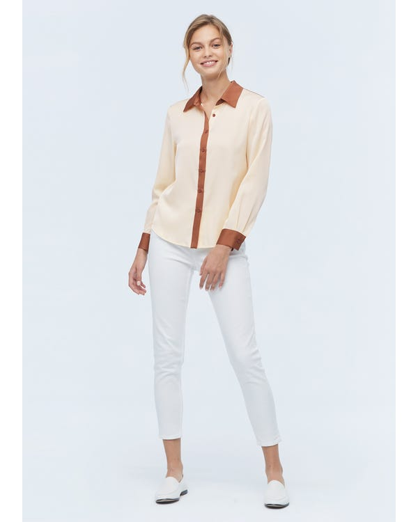 Women Casual Color Block Silk Shirt-hover