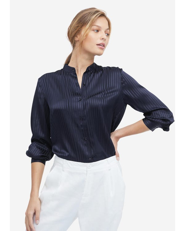 Mandarin Collar Striped Silk Shirt Navy Blue XXL