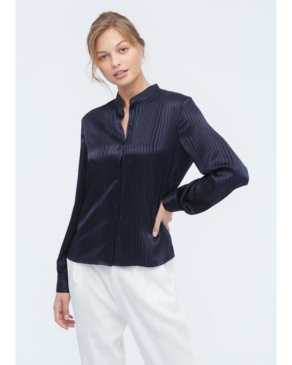 Mandarin Collar Striped Silk Shirt Navy Blue XXL-hover