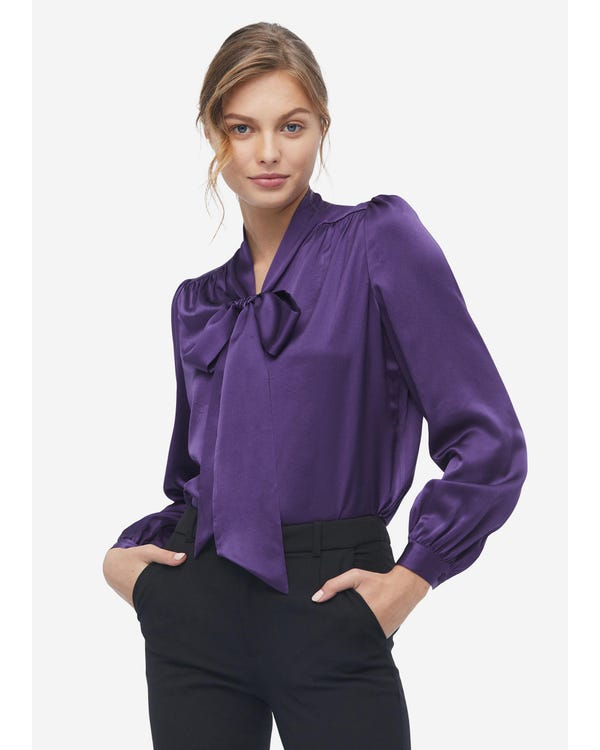 Concise Silk Bow Tie Blouse Deep-Purple XXL