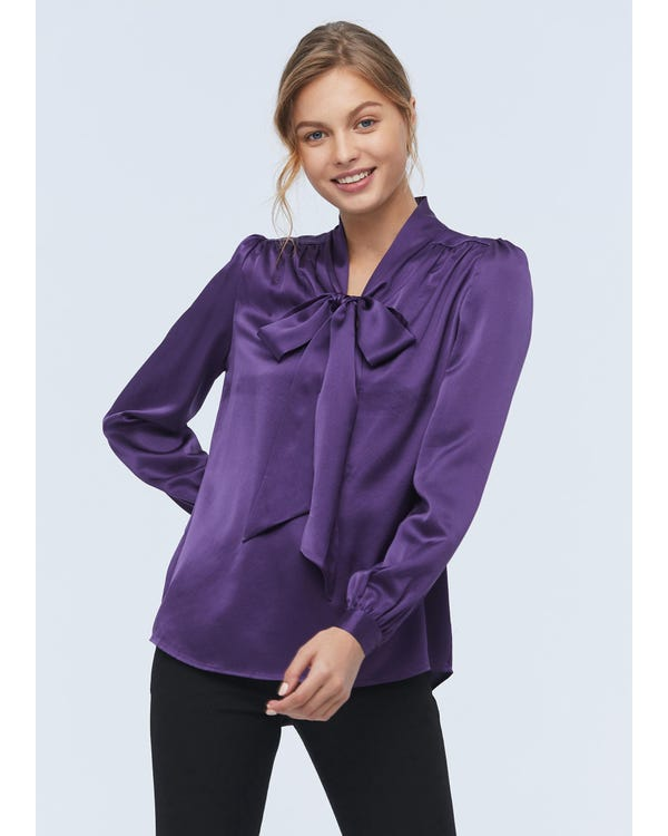 Concise Silk Bow Tie Blouse Deep-Purple XXL-hover