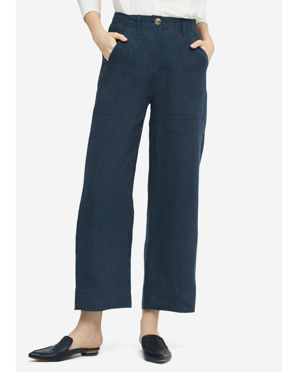 Women Casual Linen Wide-leg Pants Navy Peony 29B