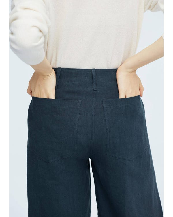Women Casual Linen Wide-leg Pants Navy Peony 32B